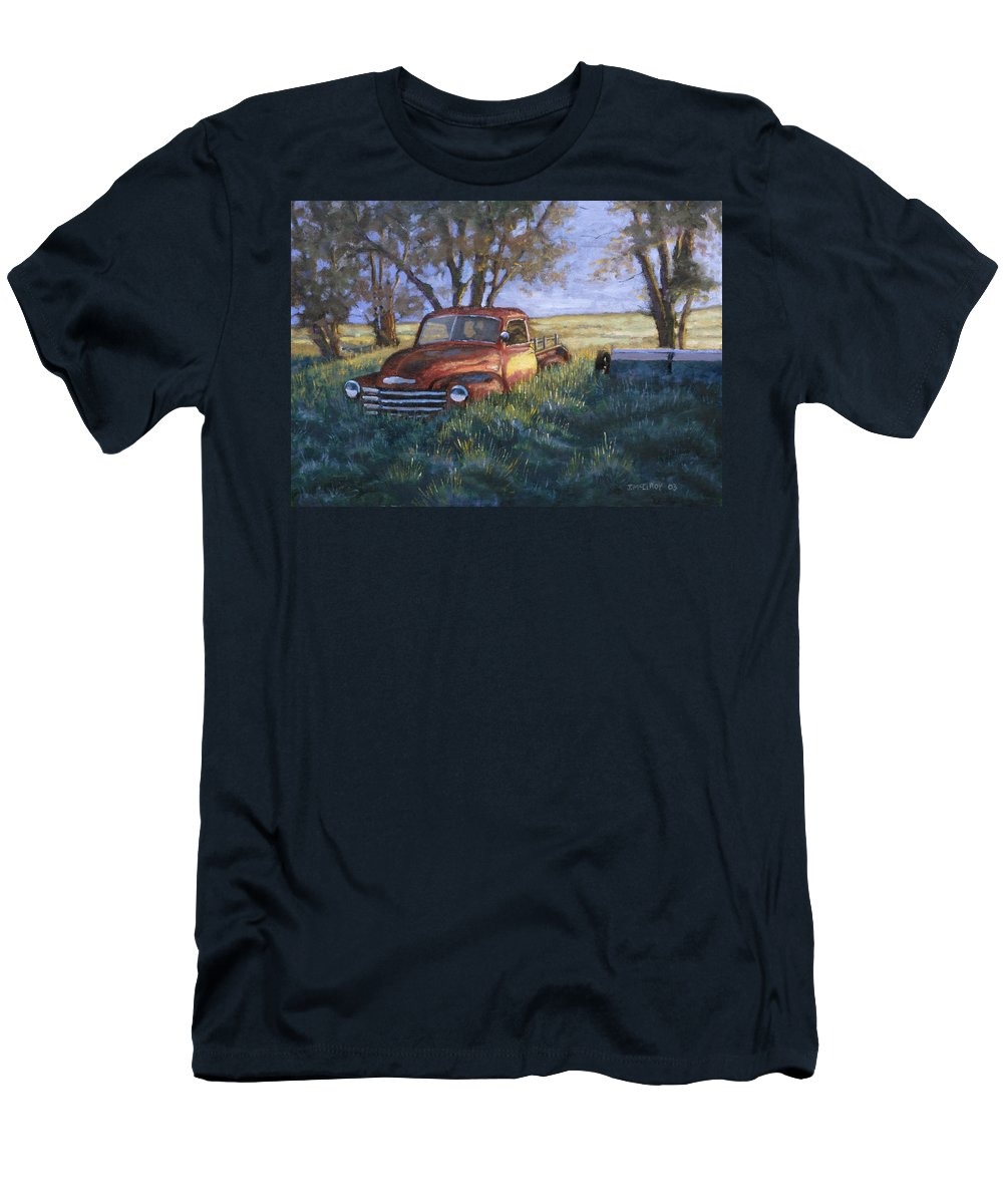 Pickup Truck Men's T-Shirt (Athletic Fit) featuring the painting Forgotten But Still Good by Jerry McElroy