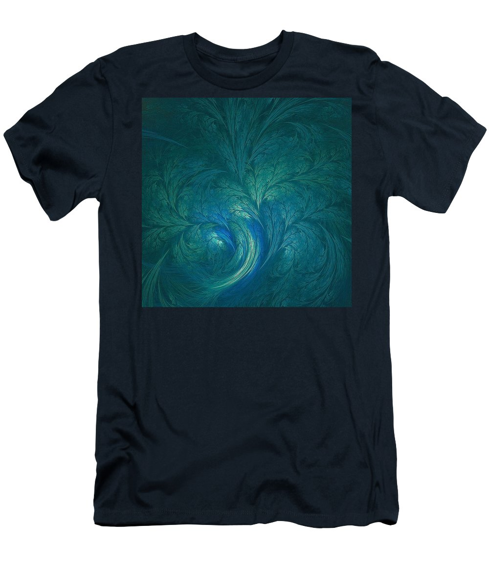 Water Men's T-Shirt (Athletic Fit) featuring the digital art Fractal Marine Blue by Doug Morgan