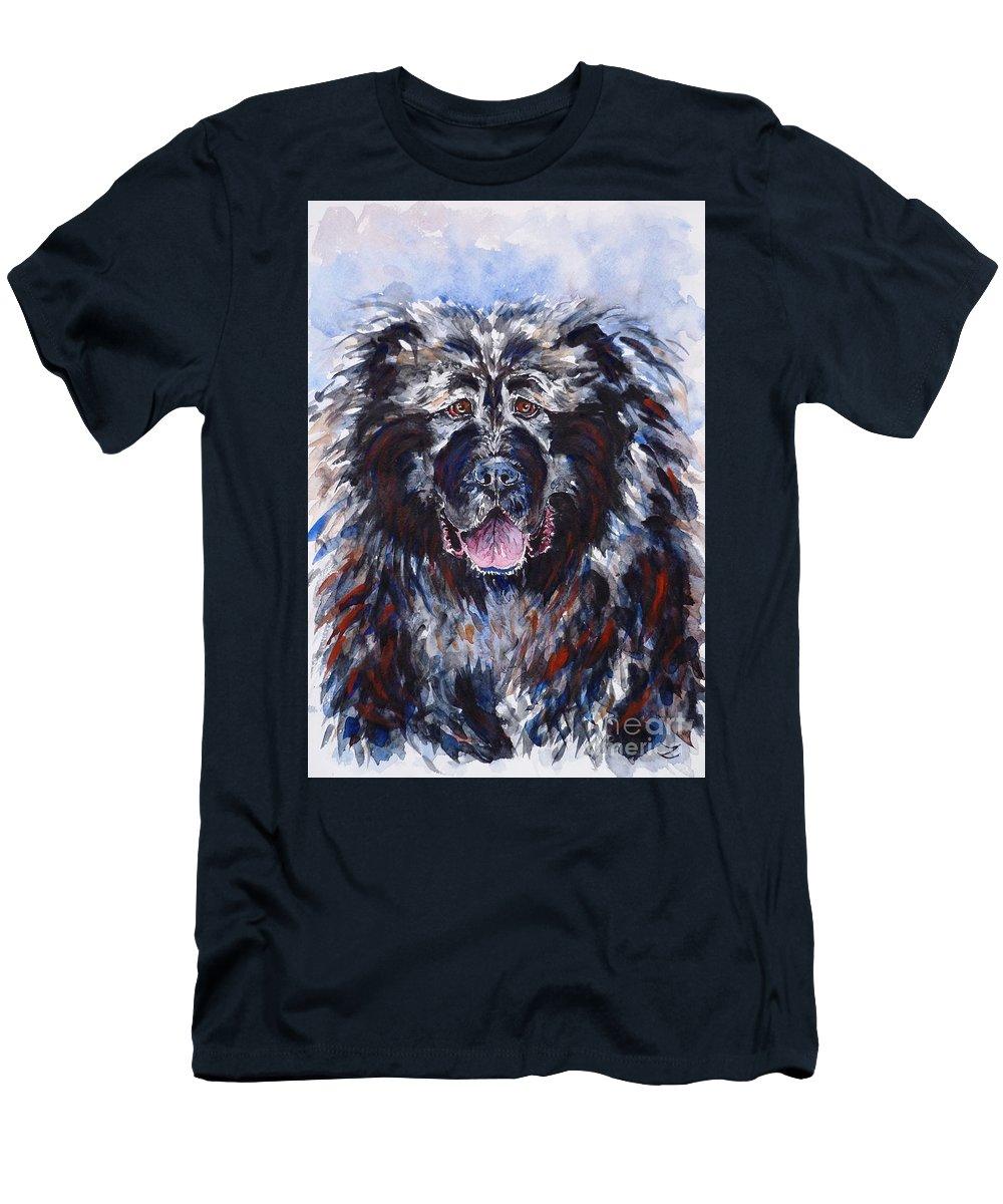 caucasian Shepherd Dog Men's T-Shirt (Athletic Fit) featuring the painting Friend by Zaira Dzhaubaeva