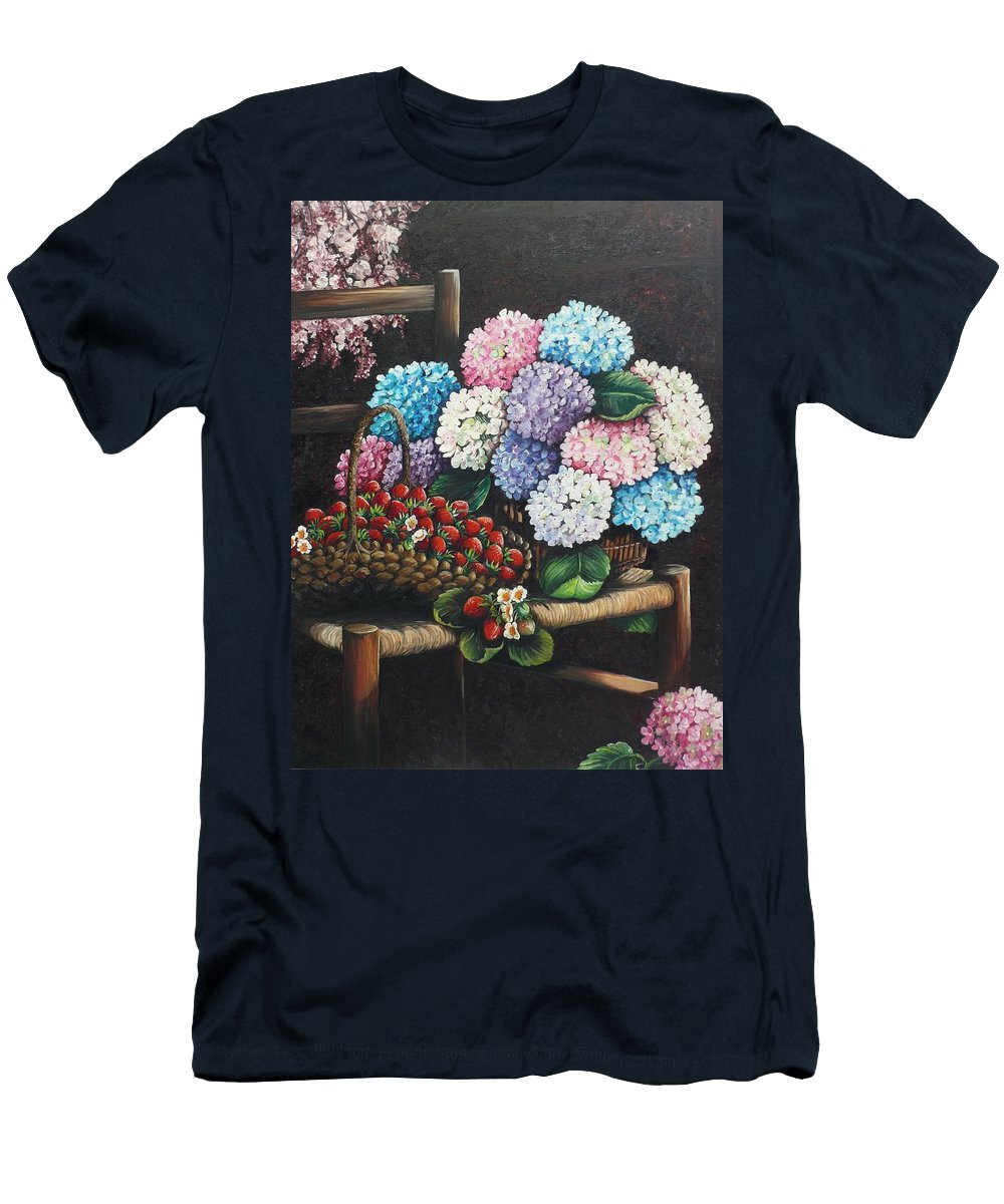 Hydrangea Paintings Floral Paintings Botanical Paintings Flower Paintings Blooms Hydrangeas Strawberries Paintings Red Paintings Basket Paintings Pink Paintings Garden Paintings  Blue Paintings  Greeting Card Paintings Canvas Paintings Poster Print Paintings  T-Shirt featuring the painting From My Garden by Karin Dawn Kelshall- Best