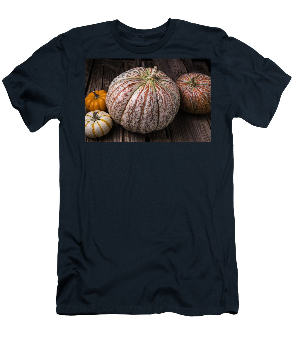 Colorful Men's T-Shirt (Athletic Fit) featuring the photograph Garden Pumpkins by Garry Gay