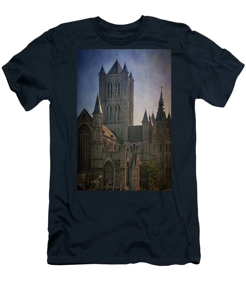 Joan Carroll Men's T-Shirt (Athletic Fit) featuring the photograph Ghent Skyline by Joan Carroll