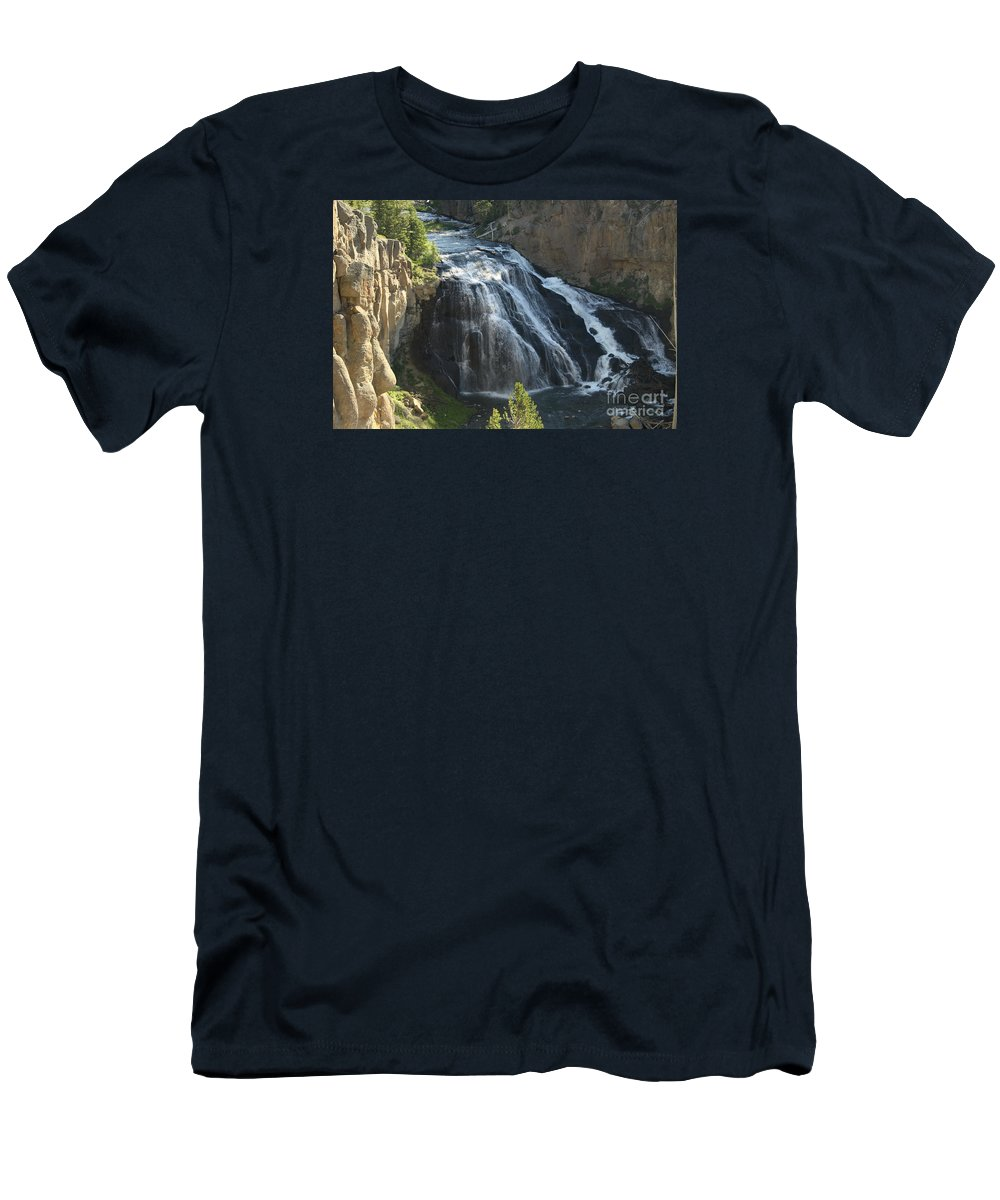 Gibbon Falls Men's T-Shirt (Athletic Fit) featuring the photograph Gibbon Falls I by Christiane Schulze Art And Photography