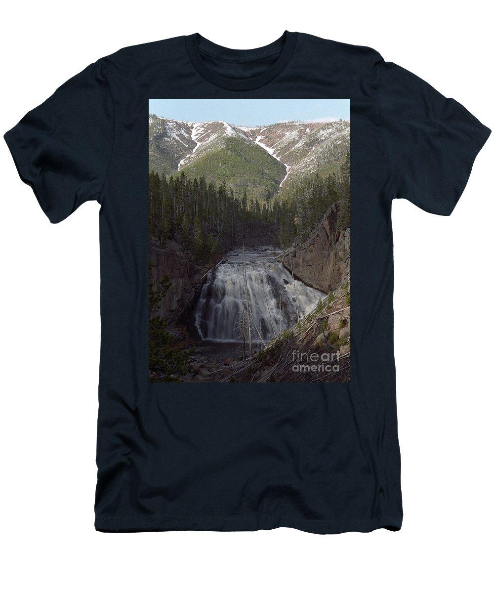 Gibbon Falls Men's T-Shirt (Athletic Fit) featuring the photograph Gibbon Falls by Sharon Elliott