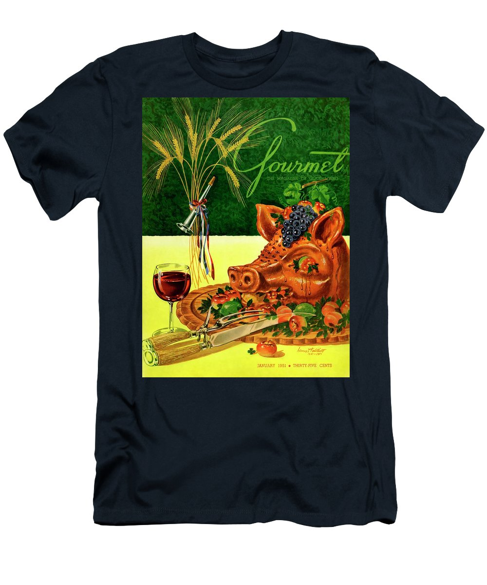 Illustration Men's T-Shirt (Athletic Fit) featuring the photograph Gourmet Cover Featuring A Pig's Head On A Platter by Henry Stahlhut