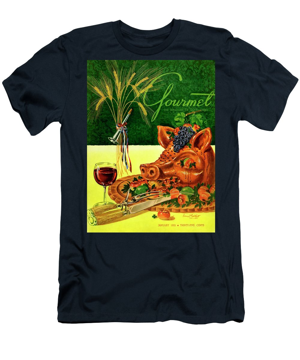 Illustration T-Shirt featuring the photograph Gourmet Cover Featuring A Pig's Head On A Platter by Henry Stahlhut