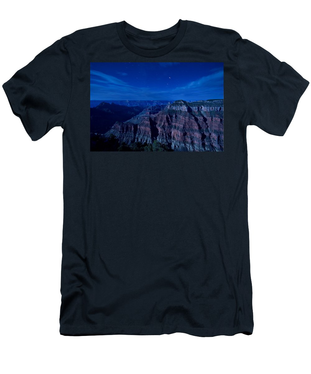 Grand Canyon Men's T-Shirt (Athletic Fit) featuring the photograph Grand Canyon In Moonlight by Alexey Stiop