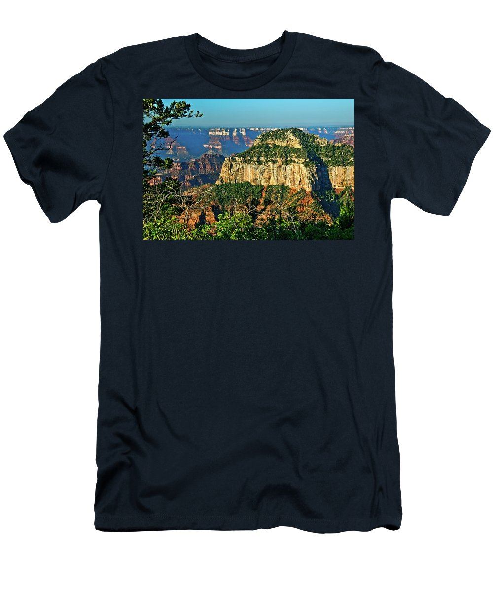 Abyss Men's T-Shirt (Athletic Fit) featuring the photograph Grand Canyon Peak Angel Point by Bob and Nadine Johnston