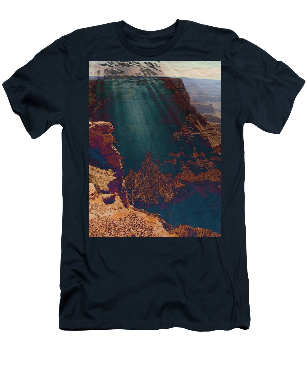 Grand Canyon Men's T-Shirt (Athletic Fit) featuring the photograph Grandistortion by Carol Oufnac Mahan