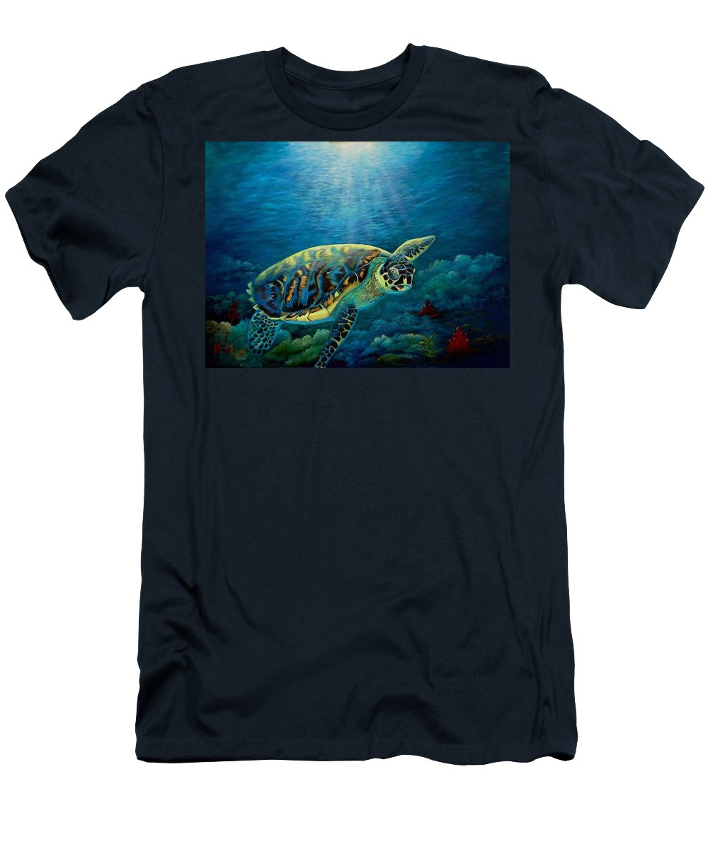 Underwater Green Sea Turtle Men's T-Shirt (Athletic Fit) featuring the painting Green Sea Turtle by Fineartist Ellen