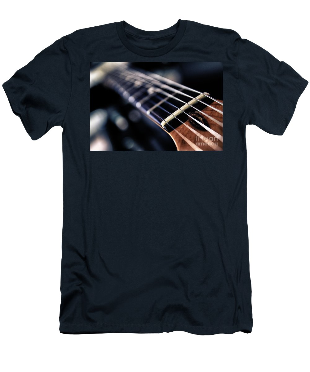 Abstract Men's T-Shirt (Athletic Fit) featuring the photograph Guitar Strings by Stelios Kleanthous