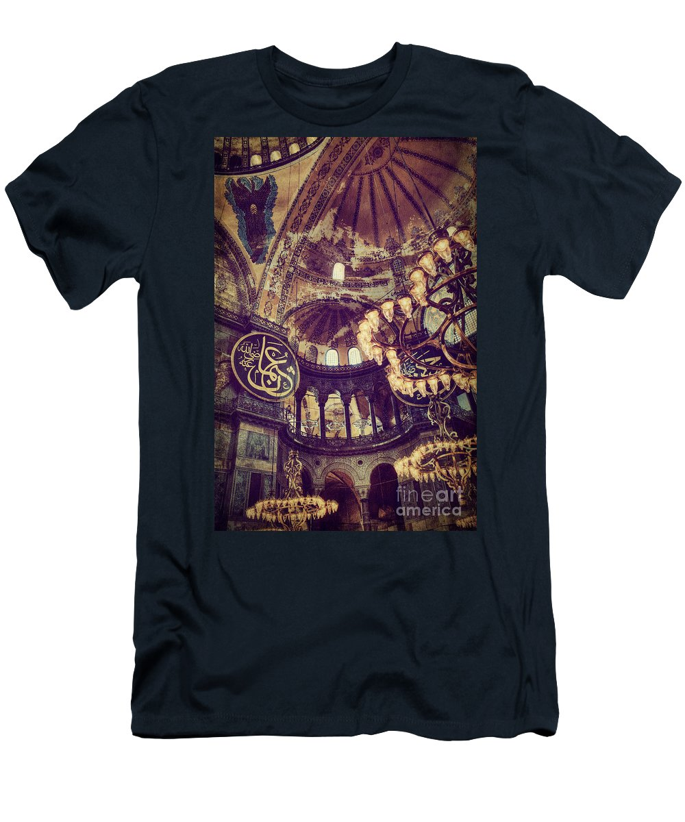 Hagia Sophia Men's T-Shirt (Athletic Fit) featuring the photograph Hagia Sophia Lighting by Emily Kay