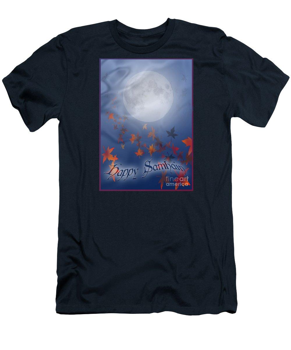 Autumn T-Shirt featuring the digital art Happy Samhain Moon and Veil by Melissa A Benson