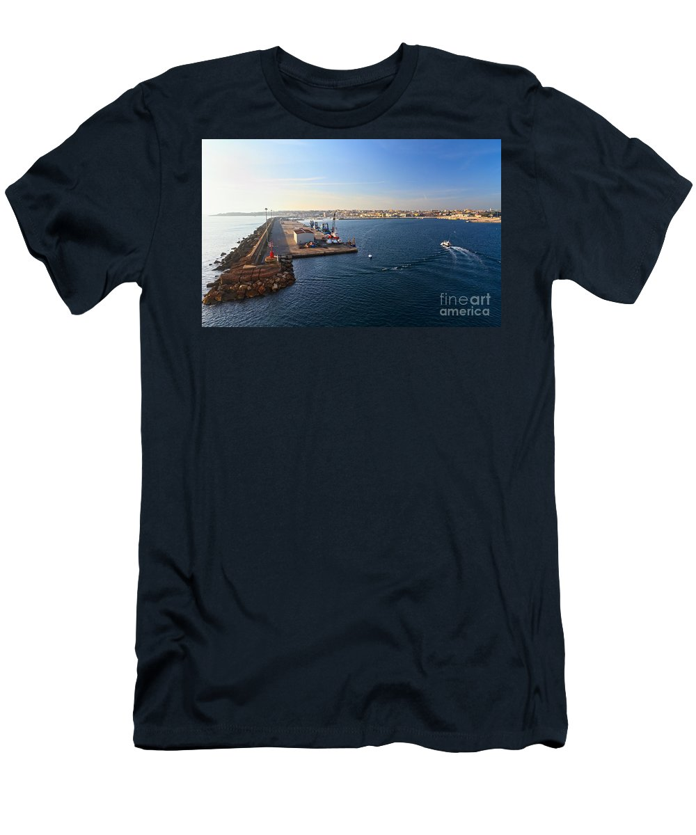Blue Men's T-Shirt (Athletic Fit) featuring the photograph harbor in Porto Torres by Antonio Scarpi