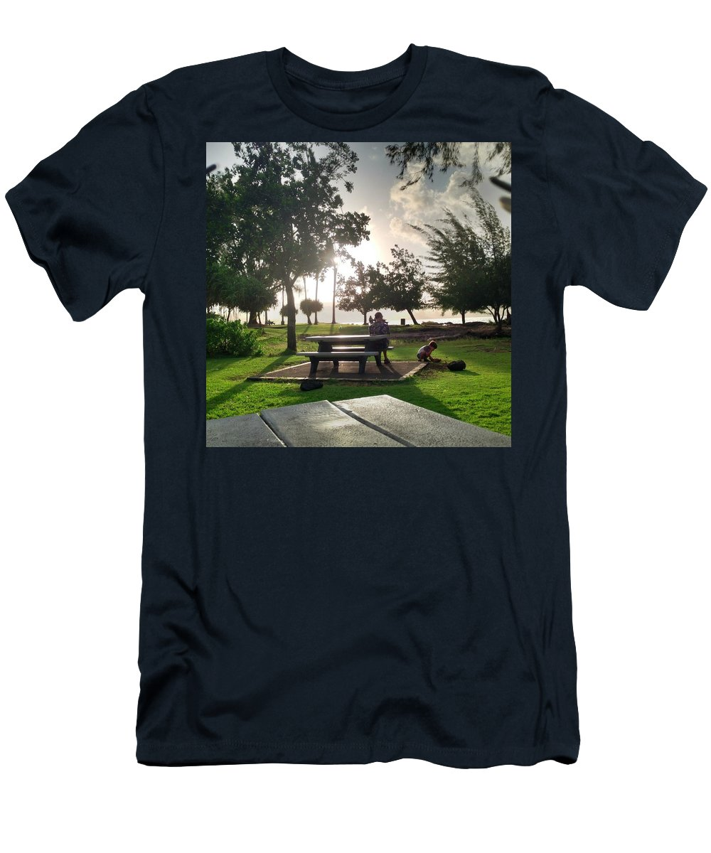 Hawaiian Landscape Men's T-Shirt (Athletic Fit) featuring the digital art Hawaiian Landscape 9 by D Preble