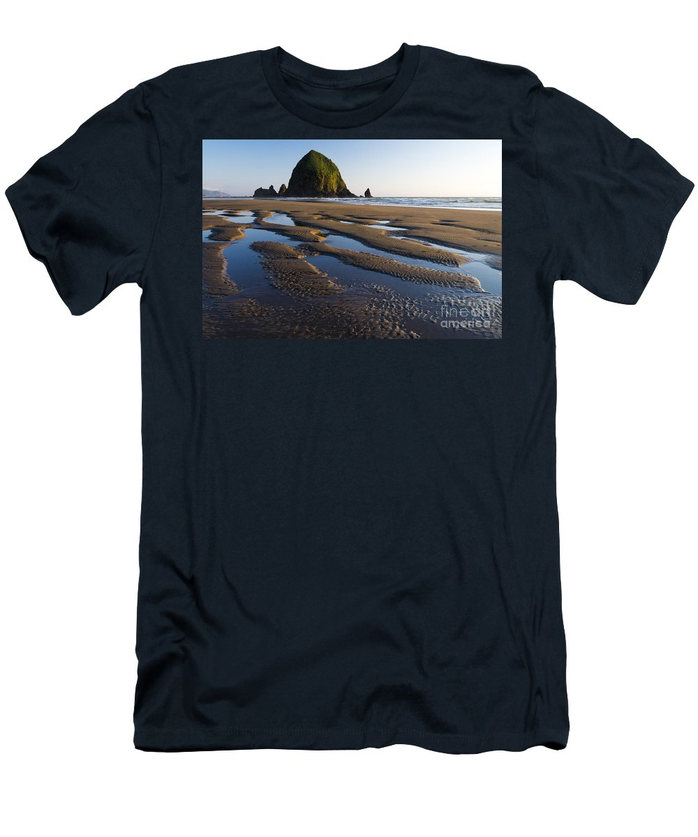 Nature Men's T-Shirt (Athletic Fit) featuring the photograph Haystack Rock by John Shaw