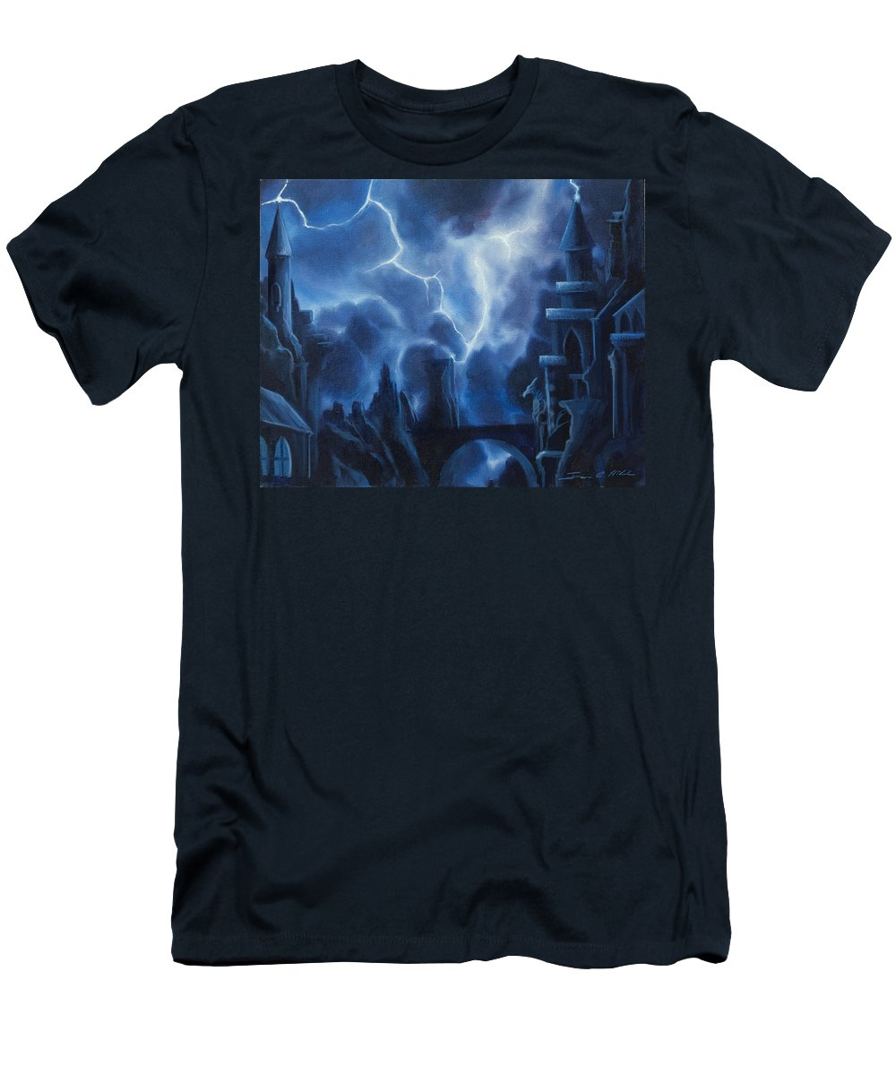 Fantasyjames Christopher Hill T-Shirt featuring the painting Heisenburg's Castle by James Christopher Hill