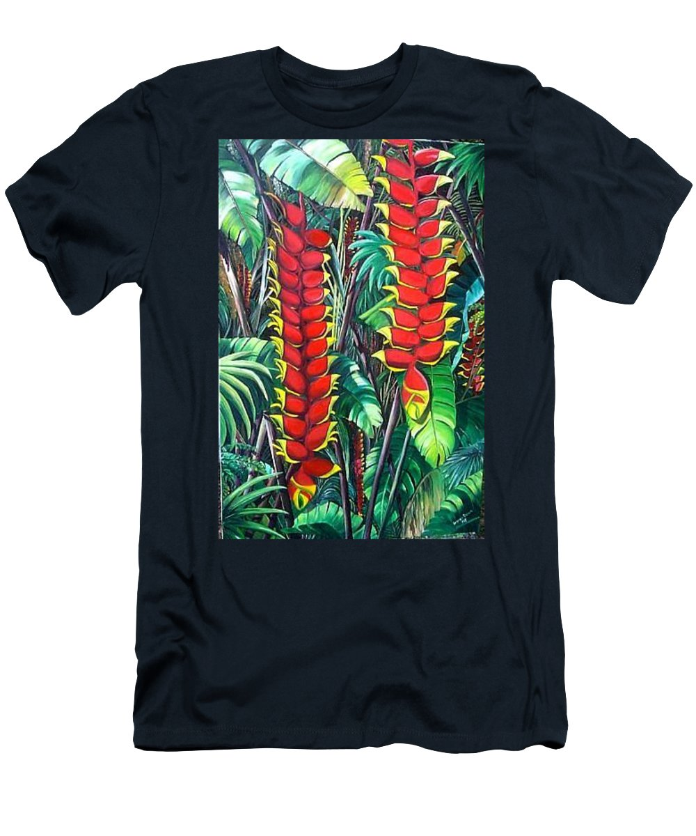 Heliconia Painting Hanging Red Heliconia Tropical Painting Men's T-Shirt (Athletic Fit) featuring the painting Heliconia Rostrata by Karin Dawn Kelshall- Best