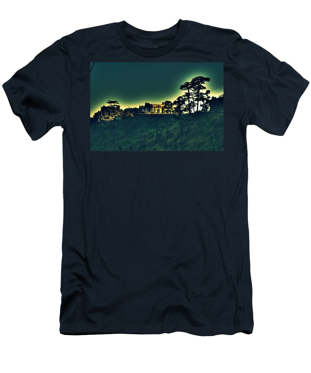 Ruins Haunted Old House Abandoned Radha Bhavan Mussoorie Mansion Palace Fort Mountain Hill Top Ghost Salman Ravish Khan Men's T-Shirt (Athletic Fit) featuring the photograph Hidden World by Salman Ravish