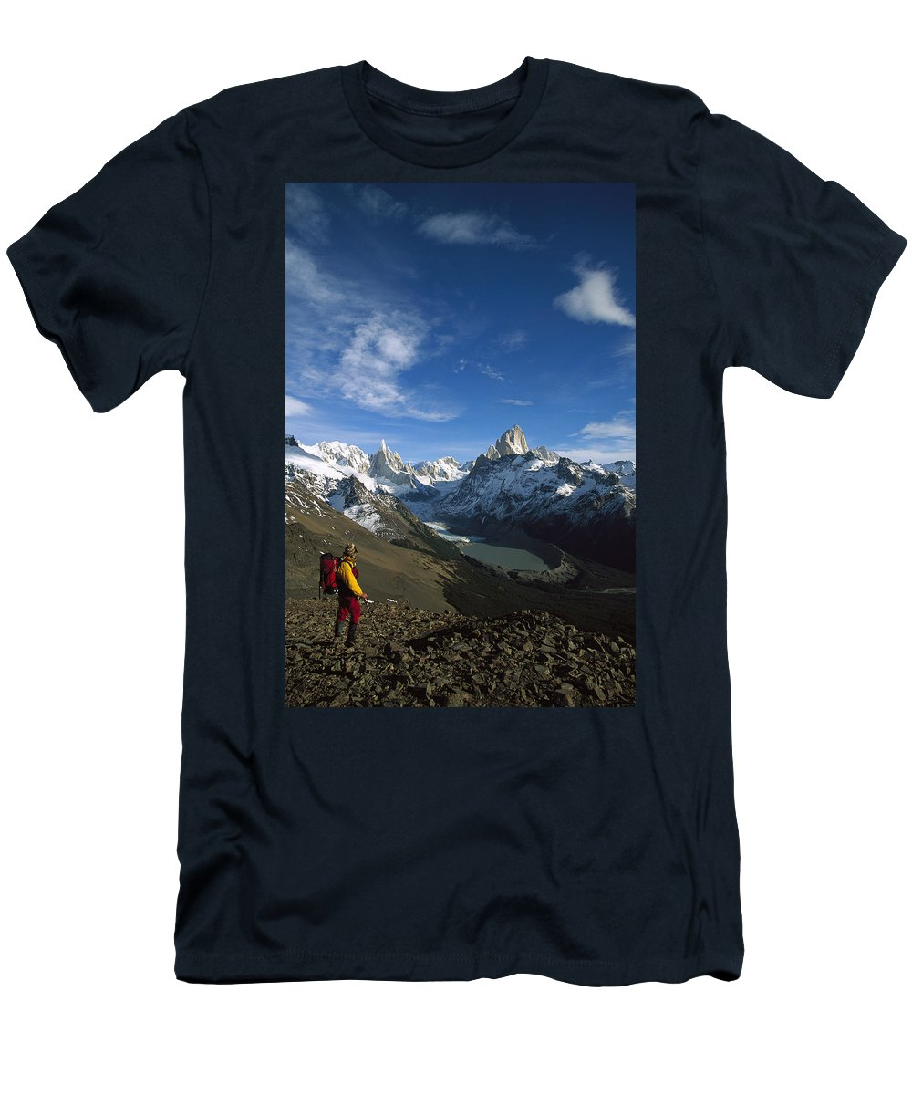 Feb0514 Men's T-Shirt (Athletic Fit) featuring the photograph Hiker Admiring Cerro Torre And Fitzroy by Colin Monteath