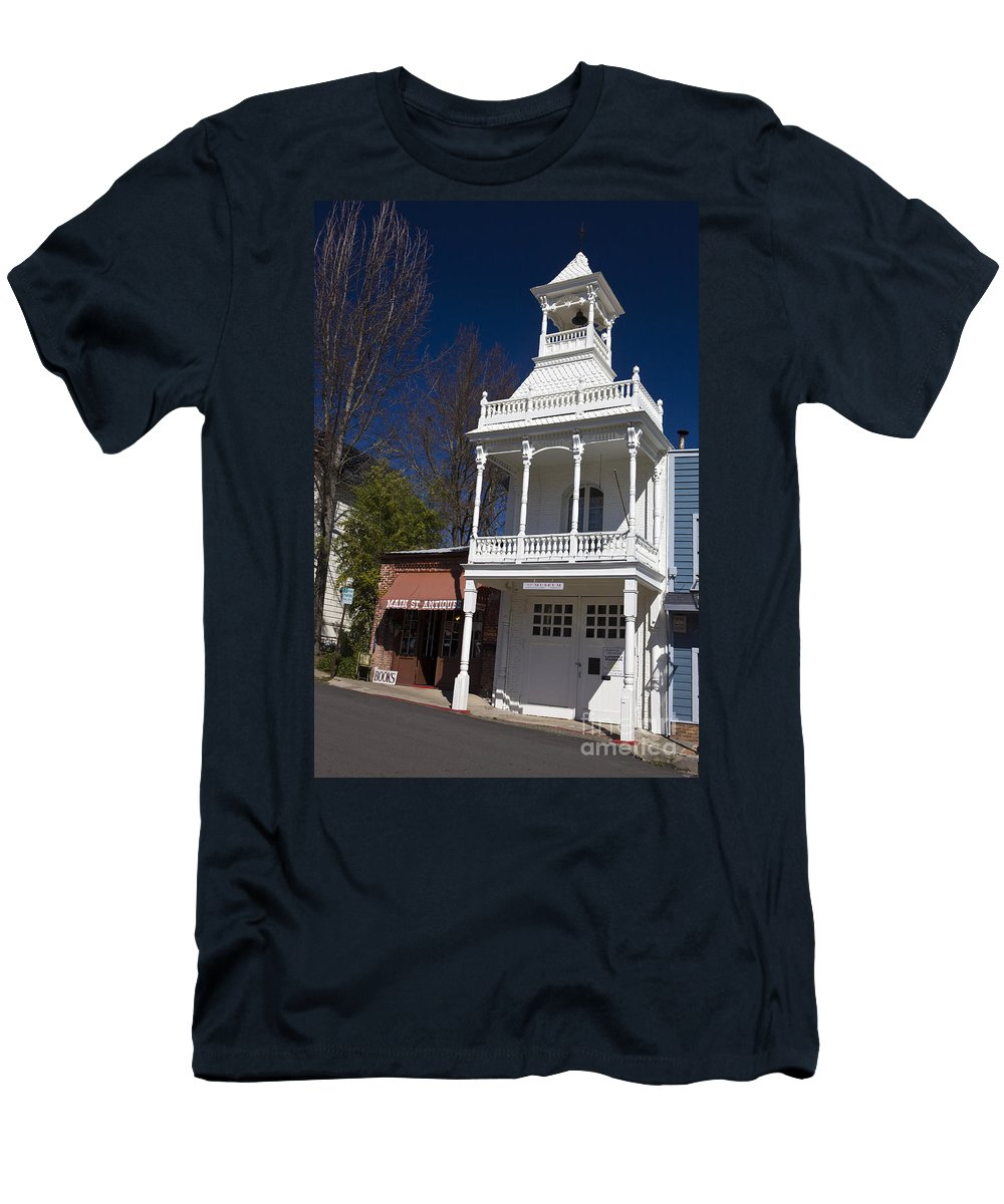 Travel Men's T-Shirt (Athletic Fit) featuring the photograph Historic Firehouse No. 1 Nevada City California by Jason O Watson