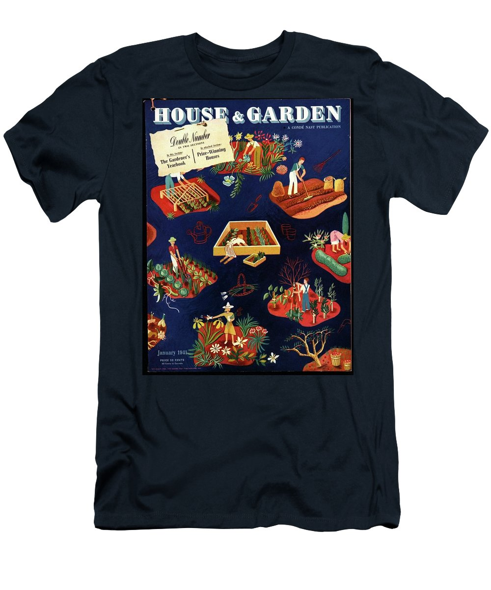 House And Garden Men's T-Shirt (Athletic Fit) featuring the photograph House And Garden The Gardener's Yearbook Cover by Ilonka Karasz