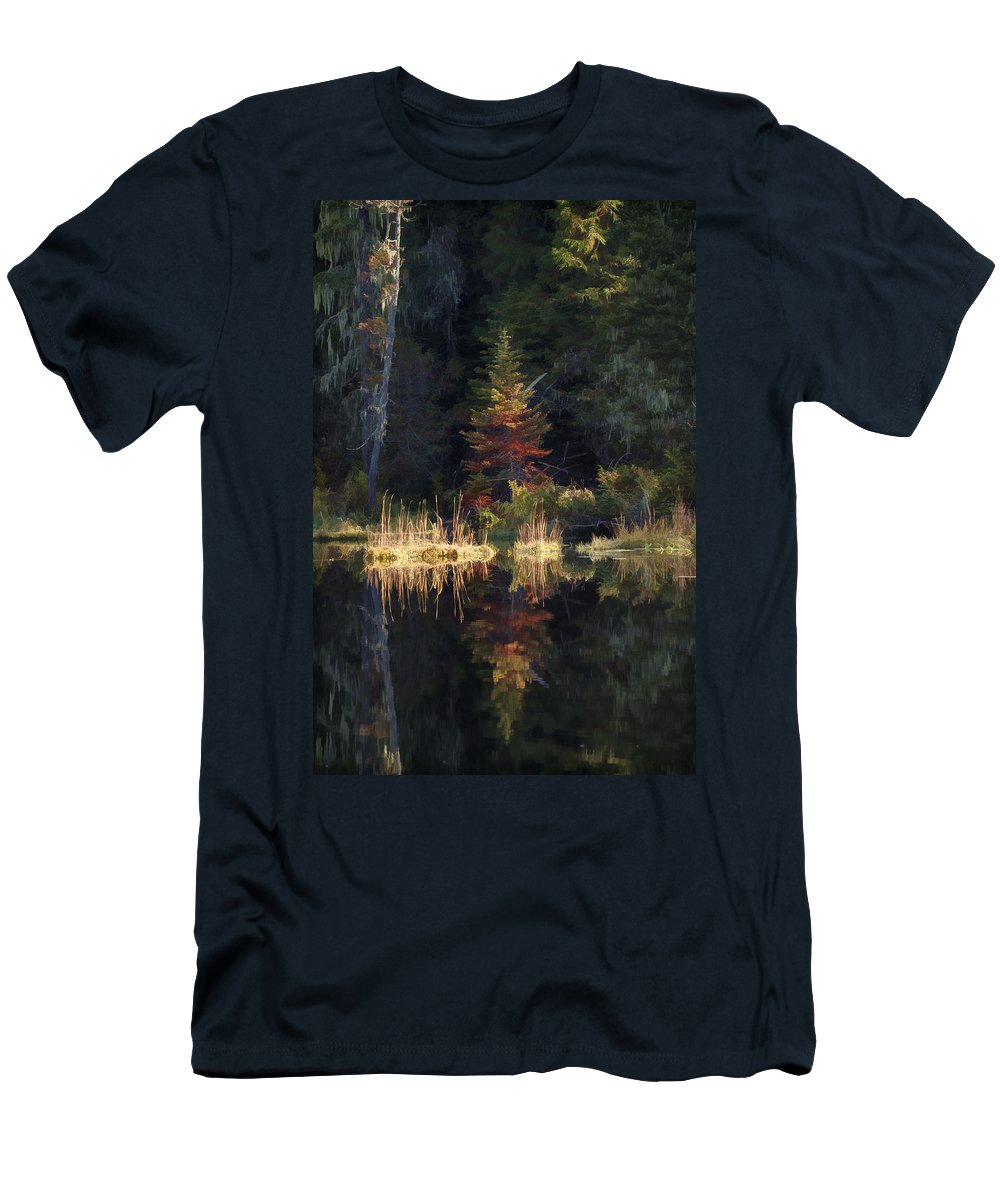 Reflection Men's T-Shirt (Athletic Fit) featuring the photograph Huff Lake Reflection by Paul DeRocker