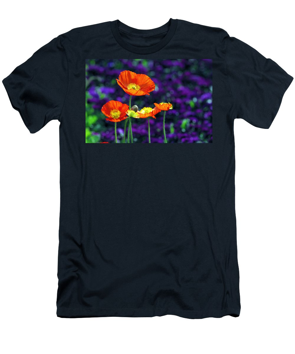 Background Men's T-Shirt (Athletic Fit) featuring the photograph Iceland Poppy by Willo Breisacher