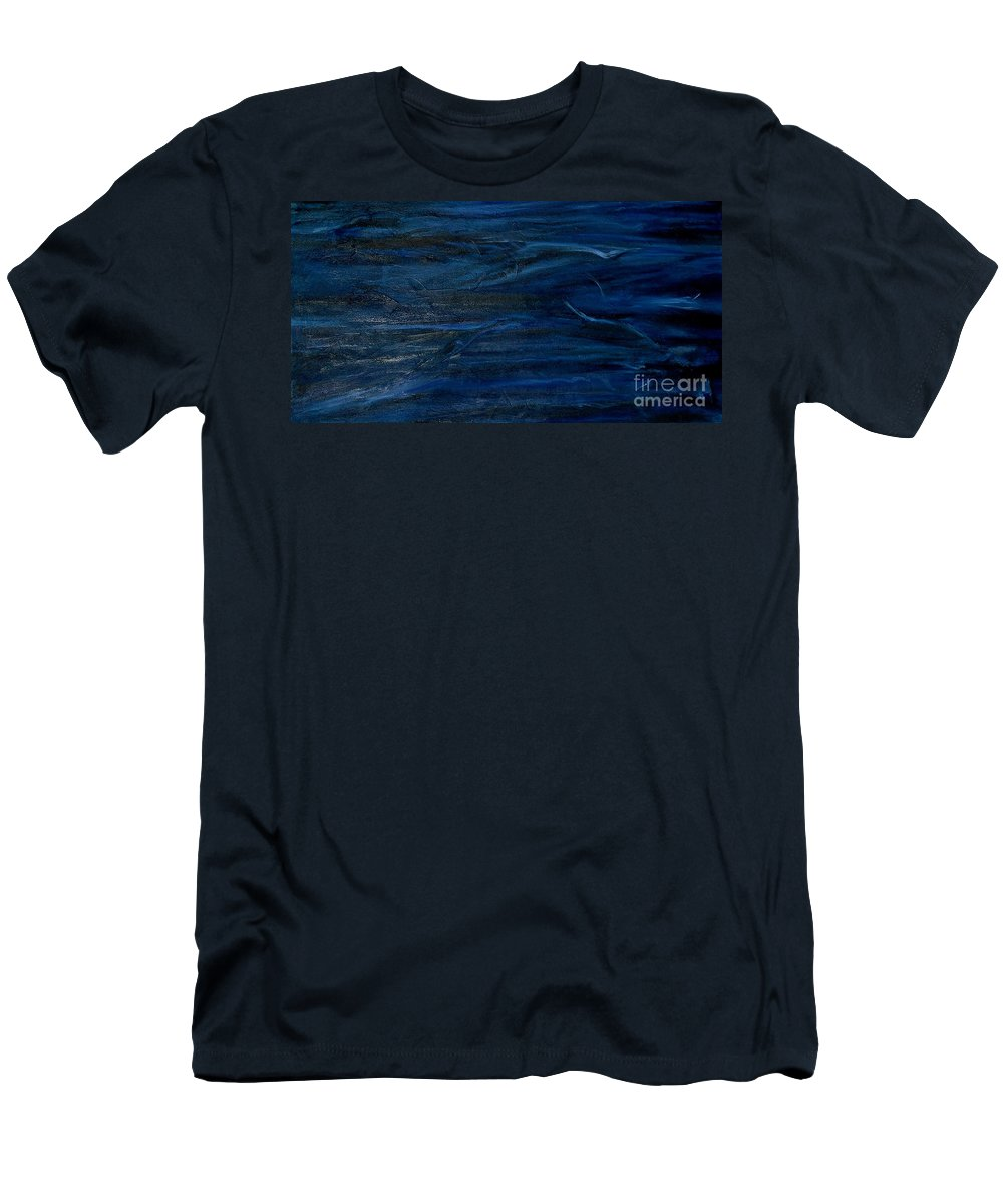 Abstract Men's T-Shirt (Athletic Fit) featuring the painting Immense Blue by Silvana Abel