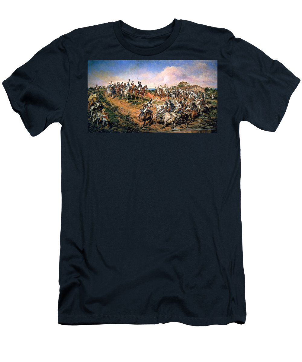 Pedro Americo Men's T-Shirt (Athletic Fit) featuring the digital art Independence Of Brazil by Pedro Americo