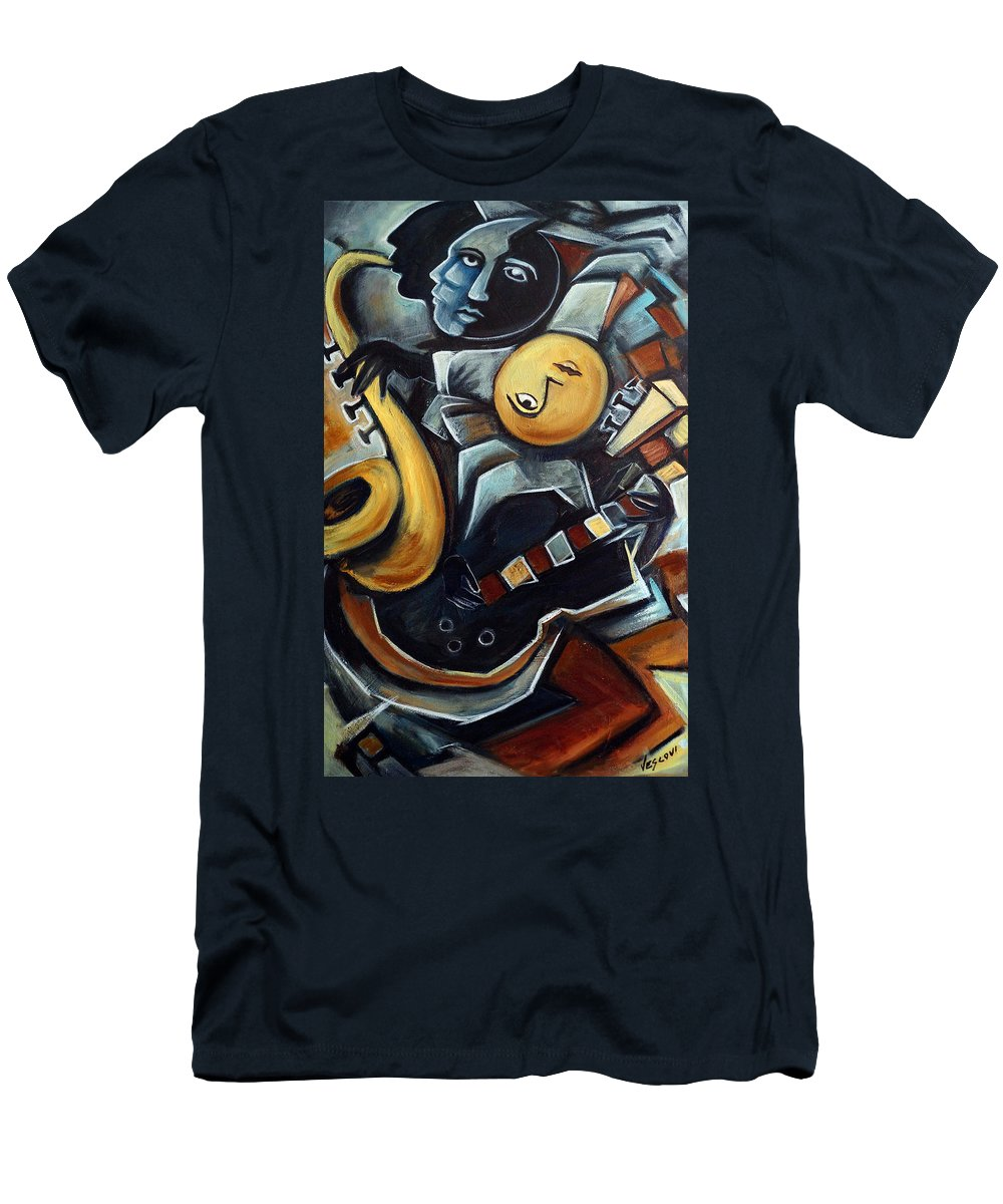 Cubism Men's T-Shirt (Athletic Fit) featuring the painting Indigo Blues by Valerie Vescovi