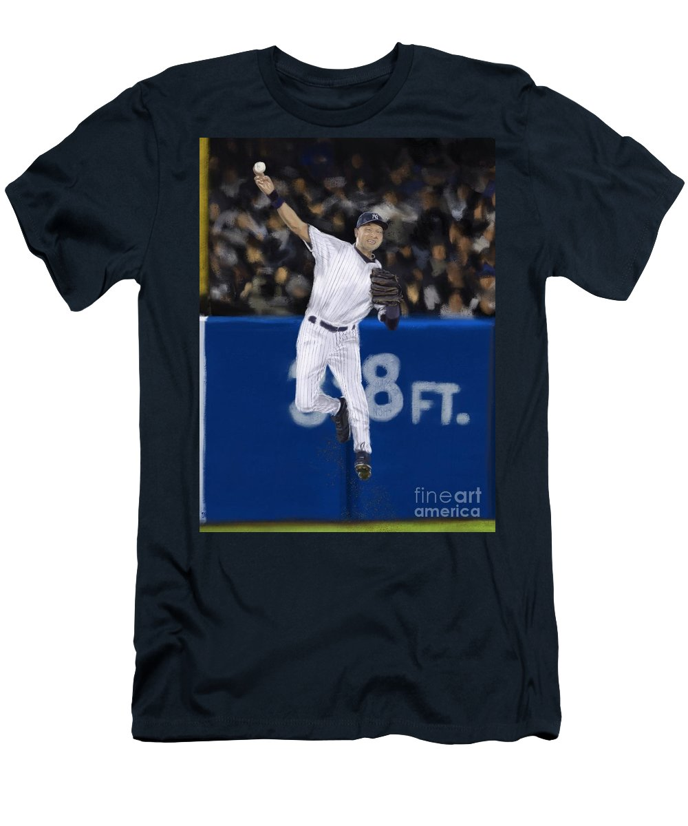 54bde1b26 Derek Jeter Men's T-Shirt (Athletic Fit) featuring the painting Jeter Jump  Throw