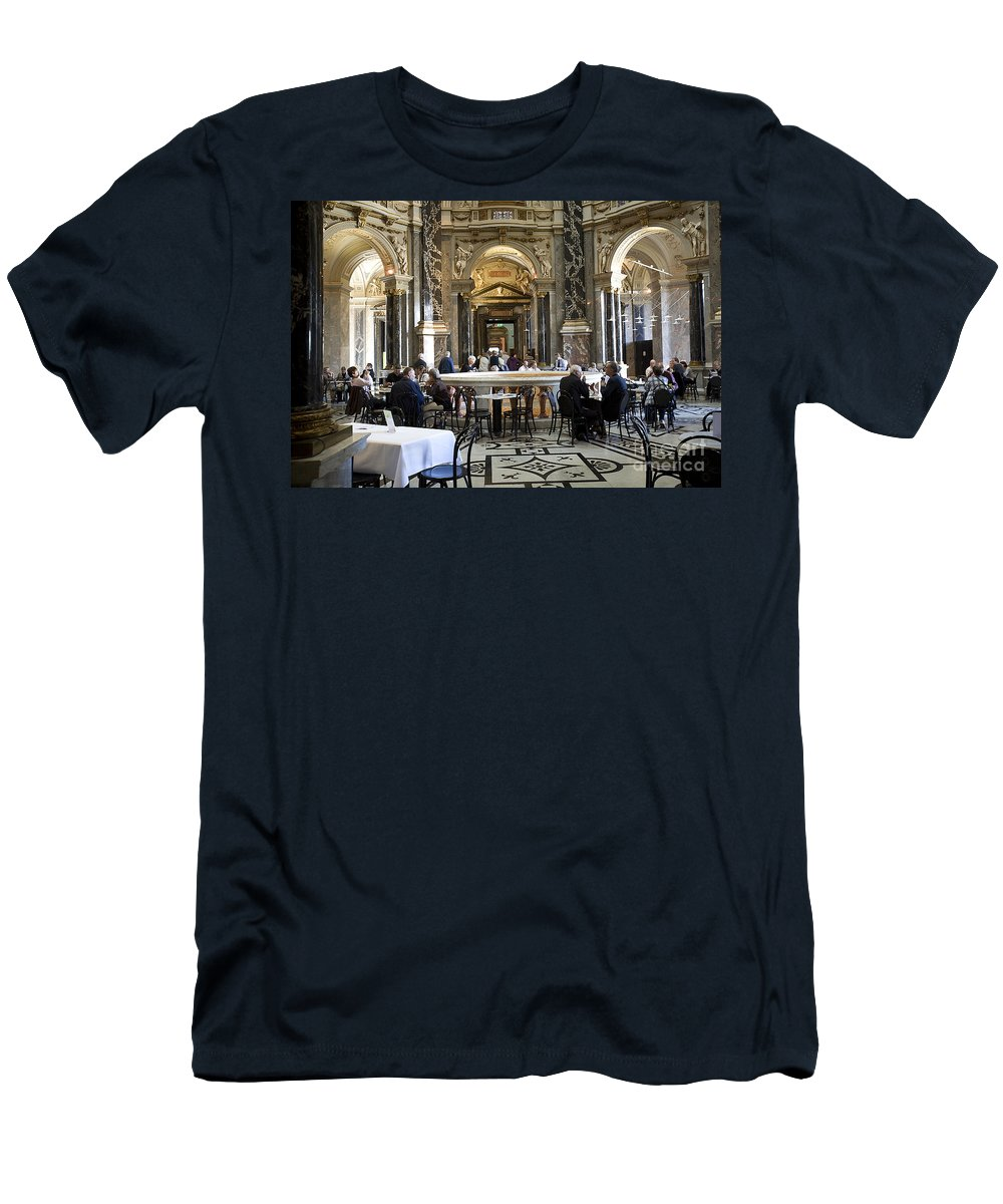 Kunsthistorische Museum Men's T-Shirt (Athletic Fit) featuring the photograph At The Kunsthistorische Museum Cafe II by Madeline Ellis