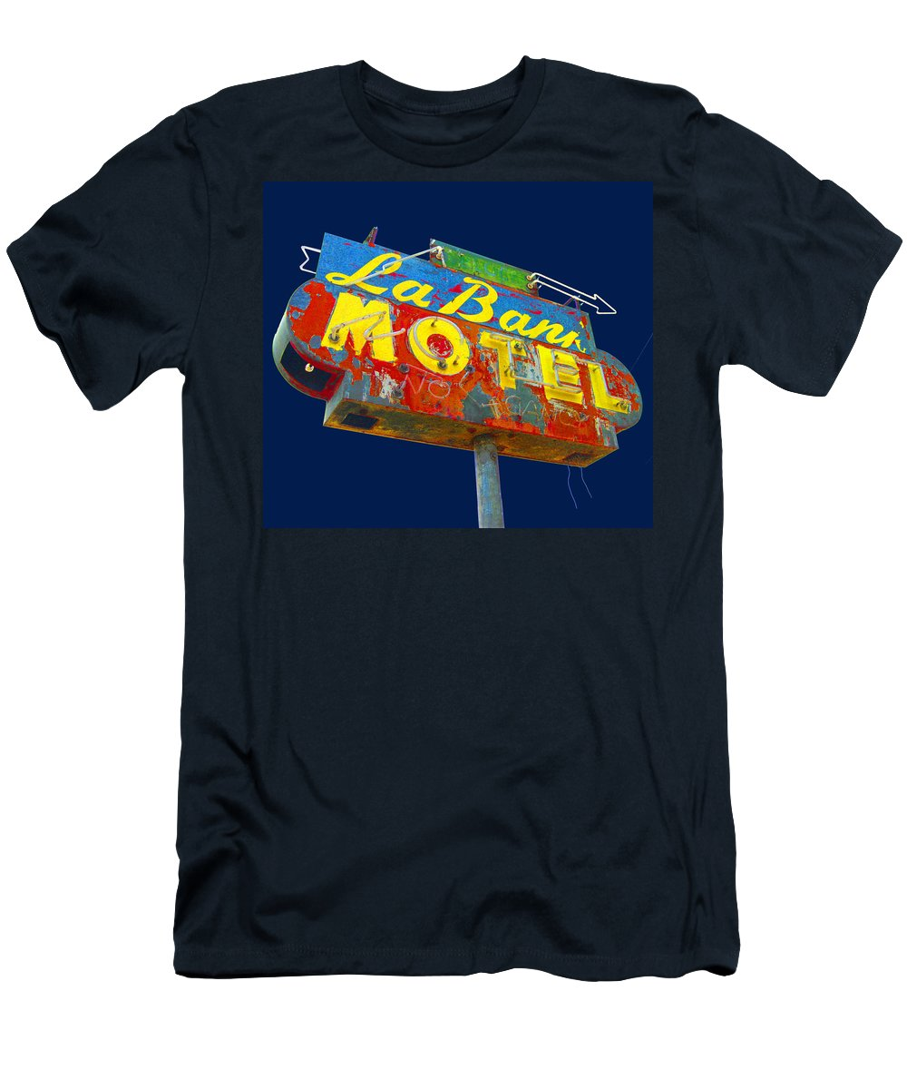 Mid Century Men's T-Shirt (Athletic Fit) featuring the photograph La Bank Motel by Larry Hunter