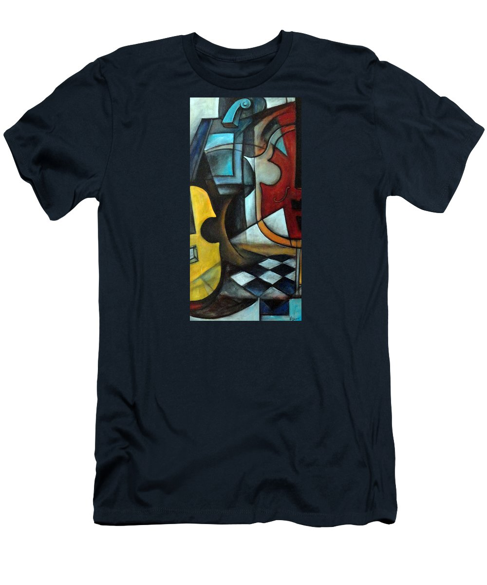Abstract Men's T-Shirt (Athletic Fit) featuring the painting La Musique 1 by Valerie Vescovi