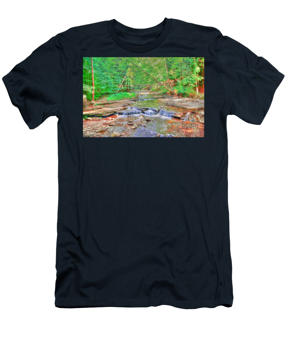 Letchworth Men's T-Shirt (Athletic Fit) featuring the photograph Last Days Of Summer by Kathleen Struckle