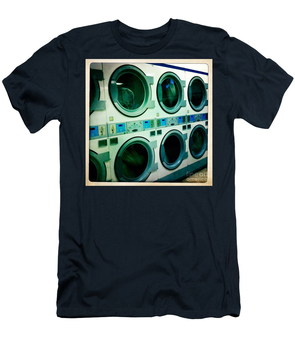 Nina Prommer Men's T-Shirt (Athletic Fit) featuring the photograph Laundromat by Nina Prommer