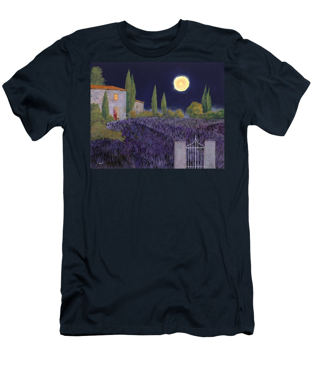 Tuscany Men's T-Shirt (Athletic Fit) featuring the painting Lavanda Di Notte by Guido Borelli