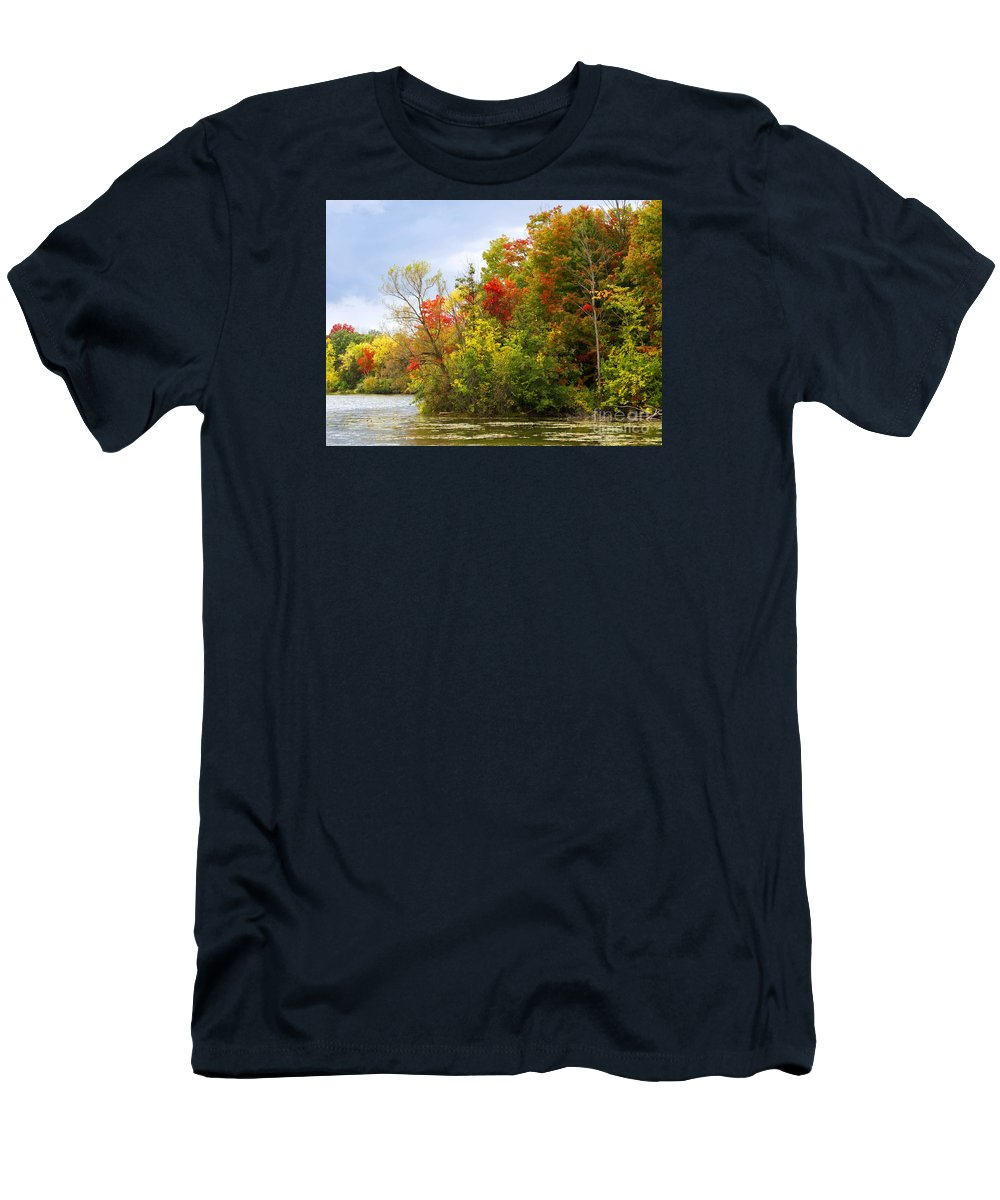 Autumn Men's T-Shirt (Athletic Fit) featuring the photograph Leaning Into Autumn by Ann Horn