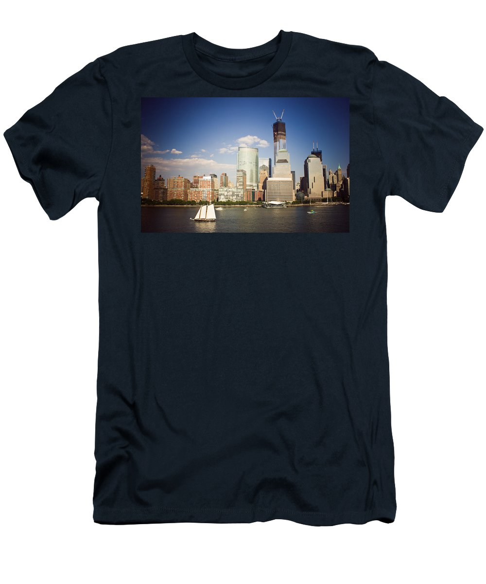 New York City Men's T-Shirt (Athletic Fit) featuring the photograph Let Freedom Ring by Sara Frank