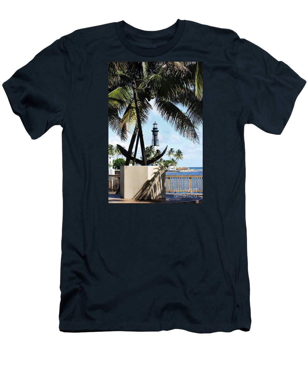 Tropic Men's T-Shirt (Athletic Fit) featuring the photograph Light And Anchor by Chuck Hicks