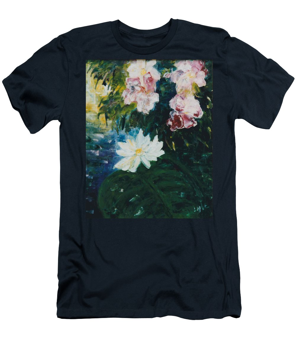 Lillie Men's T-Shirt (Athletic Fit) featuring the painting Lillie Pond by Lord Frederick Lyle Morris