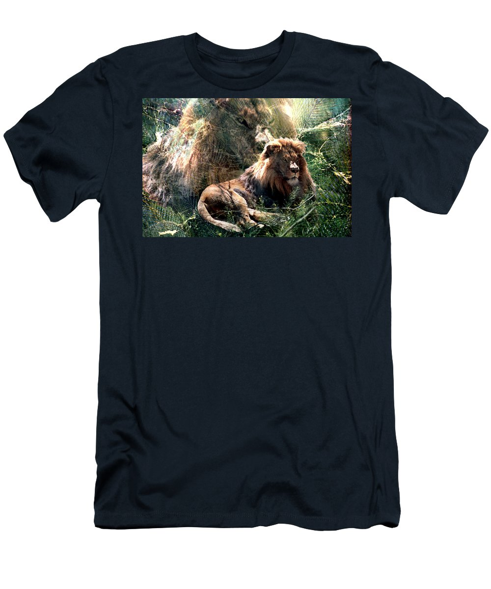 Lion Men's T-Shirt (Athletic Fit) featuring the digital art Lion Spirit by Lisa Yount