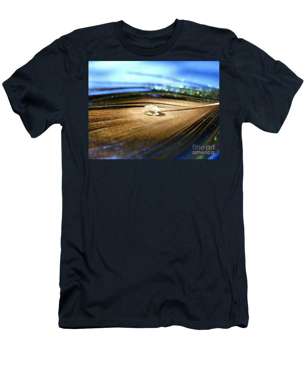 Feather Men's T-Shirt (Athletic Fit) featuring the photograph Liquid Crystal by Krissy Katsimbras