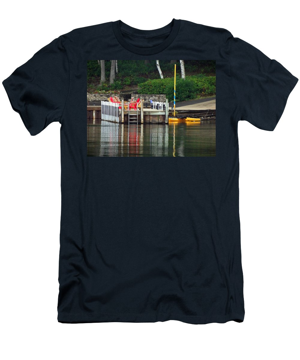 Dock Reflection Men's T-Shirt (Athletic Fit) featuring the photograph Little Sister Dock Reflection by David T Wilkinson