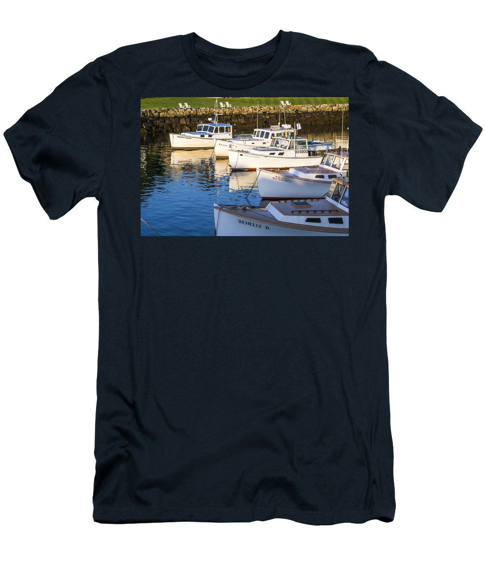 Boat Men's T-Shirt (Athletic Fit) featuring the photograph Lobster Boats - Perkins Cove -maine by Steven Ralser