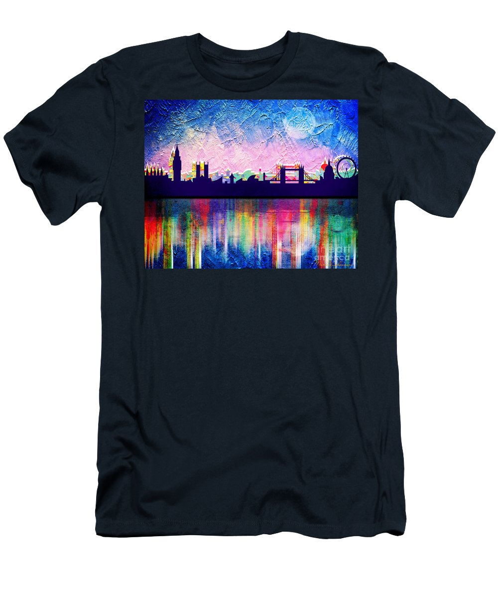 Cityscape Men's T-Shirt (Athletic Fit) featuring the painting London In Blue by Mark Ashkenazi