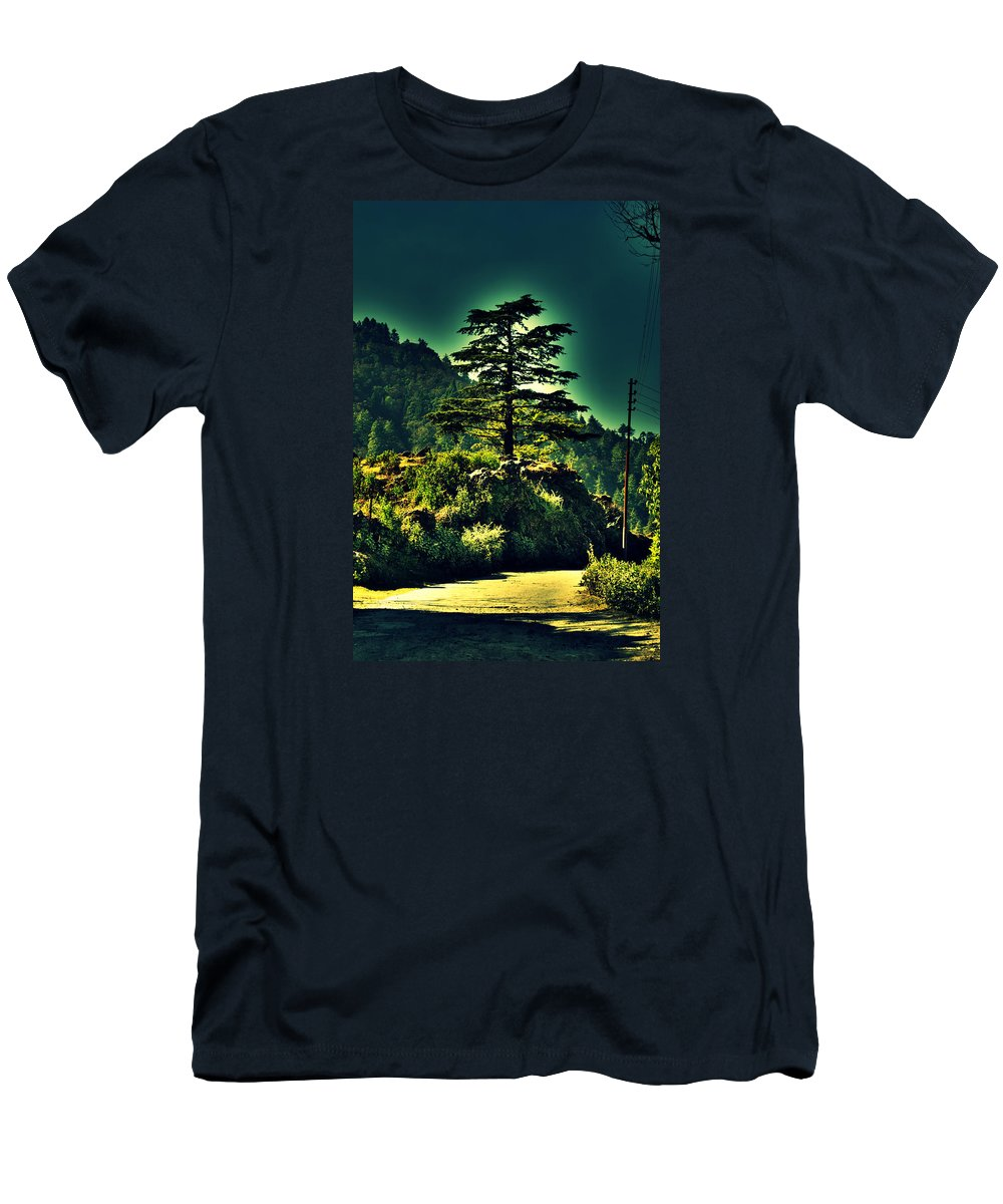Wallpaper Buy Art Print Phone Case T-shirt Beautiful Duvet Case Pillow Tote Bags Shower Curtain Greeting Cards Mobile Phone Apple Android Nature Ruins Haunted Old House Abandoned Radha Bhavan Mussoorie Mansion Palace Fort Mountain Hill Top Ghost Salman Ravish Khan Men's T-Shirt (Athletic Fit) featuring the photograph Lone Pine by Salman Ravish