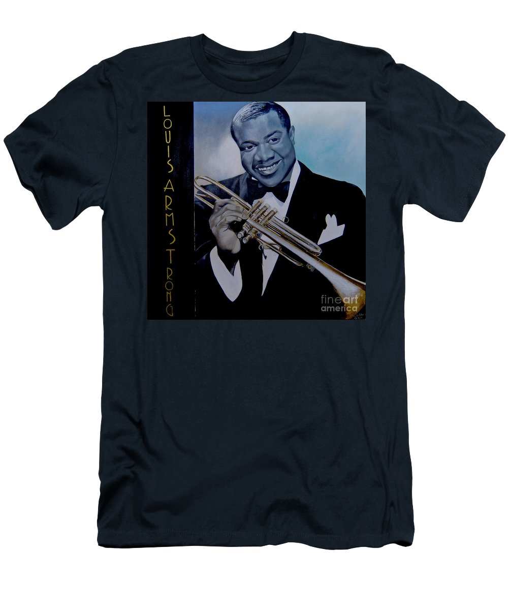Jazz Men's T-Shirt (Athletic Fit) featuring the painting Louis Armstrong by Chelle Brantley
