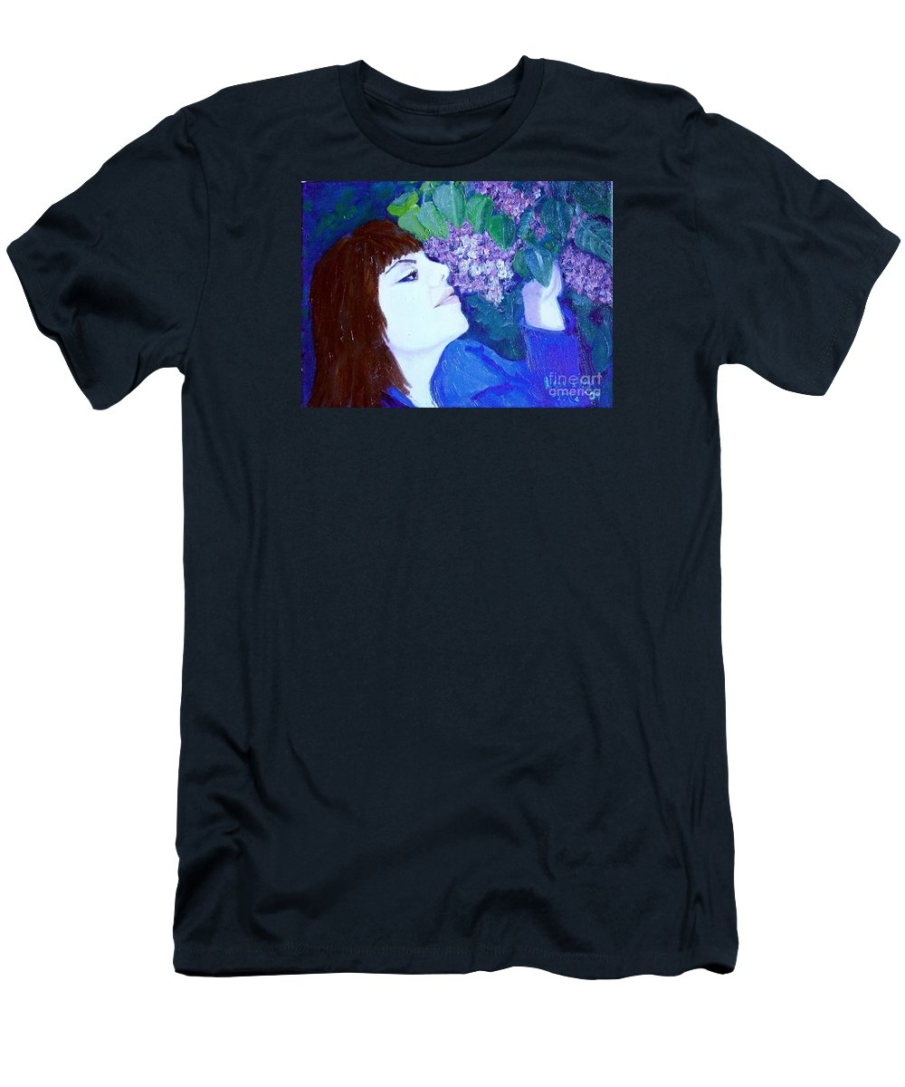 Lilacs Men's T-Shirt (Athletic Fit) featuring the painting Lush Lilacs by Laurie Morgan